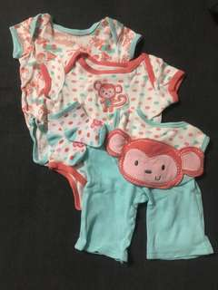 EUC SM Pure Blue Monkey Baby Clothes Set