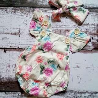 Romper + Headband Bayi Jumpsuit Newborn Baby Bunga Pink Pita
