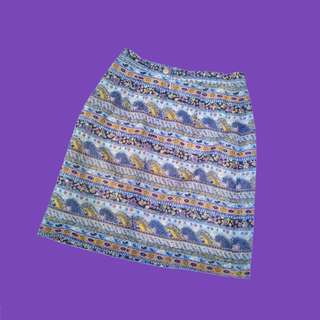 🚚 古著 粉藍色 變形蟲 圖騰 裙 vintage