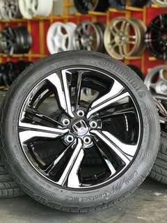 Original civic fc sports rim 17 inch tyre bunga 99% continental. *super jimat the bosku*