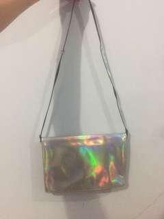 ZARA Hologram clutch bag