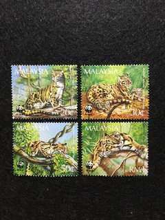 1995 Clouded Leopard WWF 4 Values Used Set