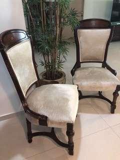 Rosewood chair velvet x 2