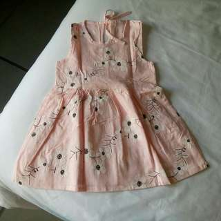 Dress Summer Pantai Anak Bunga Sakura Pink