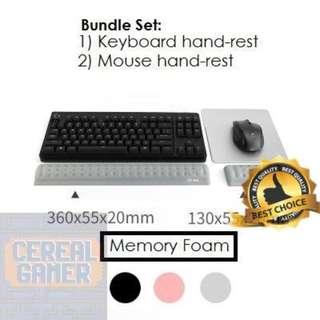 🚚 (New) Grey Memory Foam 68 Keyboard Hand Rest Bundle