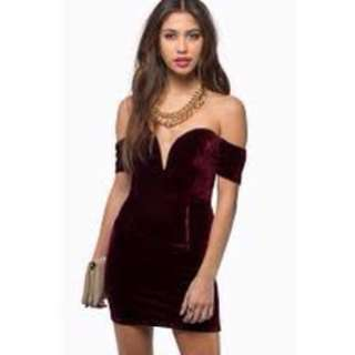 Tobi velvet off the shoulder dress