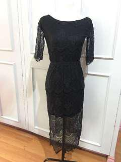 Black Lace Backless Midi Dress Freesize
