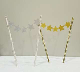 🚚 Brand New: Twinkling Star Bunting Cake Topper