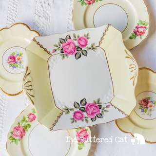 RESERVED Five attractive pale yellow mix and match vintage English china plates, cake serving plate + tea plates for four