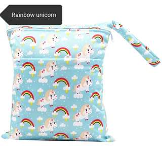 Medium size unicorn and others wet bag / diaper bag