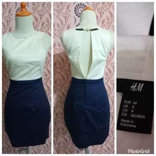 H&M white navy dress