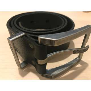 Italian Black Leather 'Metal Mór' Belt with Contemporary Matte Metal Hardware (Hand made in Ireland)