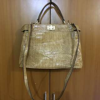 CROCODILE EMBOSSED STACCATO TWO WAY BAG