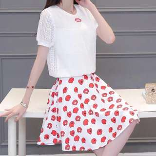 korean terno top +skirt
