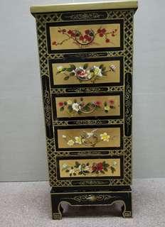 中國古董金漆花形圖案五桶櫃
