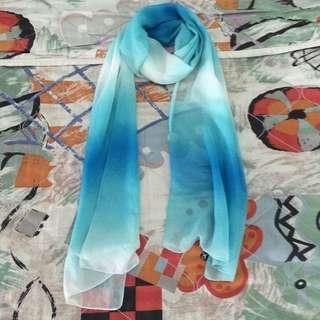 🚚 Pre Loved Chiffon Blue Gradient Scarf