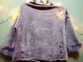 Gray turtle neck suede