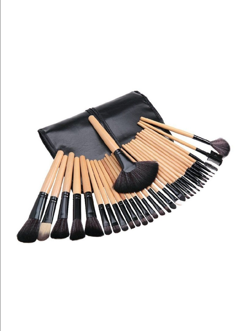 24pcs Make Up Brush Set For Sale With Wooden Handle And Leather 36 Pcs Professional Cosmetic Facial Wood Makeup Brushes Tools Kit Black Case Pouch Health Beauty On Carousell