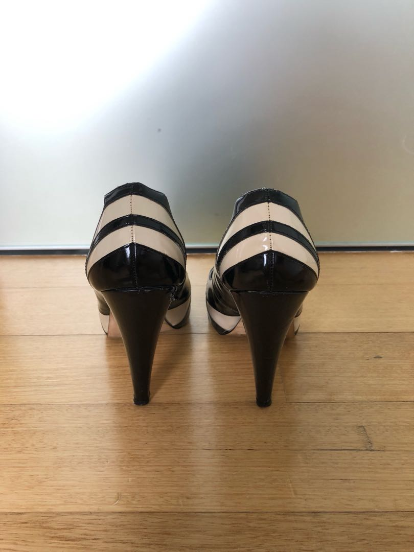 e07dd38545d ALDO black and white patent leather peep toe pumps