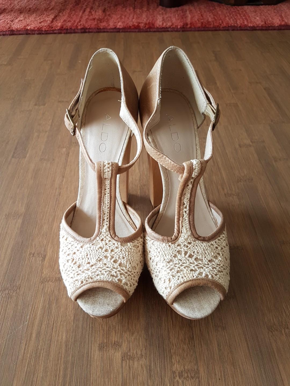 c85ca323dadb Aldo Nude Crochet Peeptoes, Women's Fashion, Shoes, Heels on Carousell