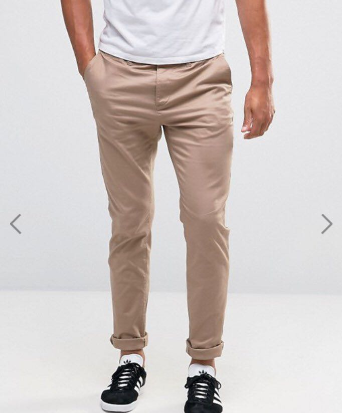5627d06a7e ASOS Skinny Chinos in Light Khali, Men's Fashion, Clothes, Bottoms ...