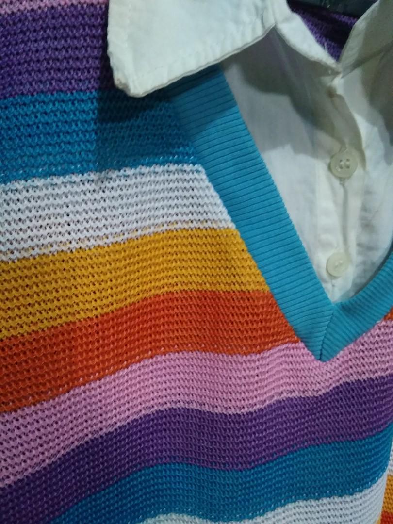 Baju rajut rainbow