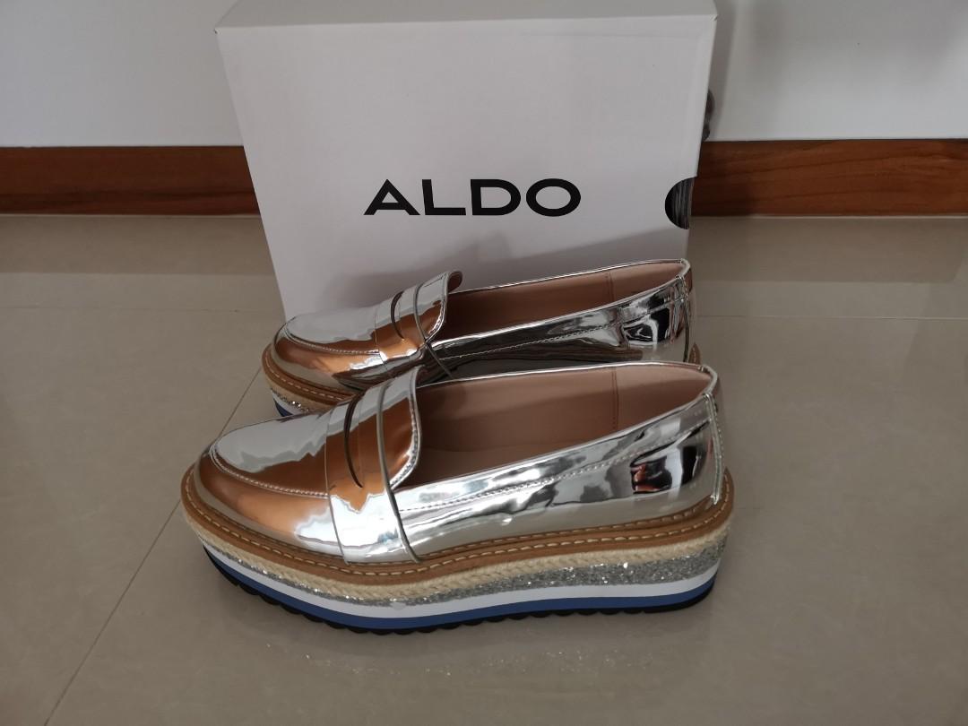 9d94896ed2a Brand New ALDO IBARESEN silver flatfoam Loafer
