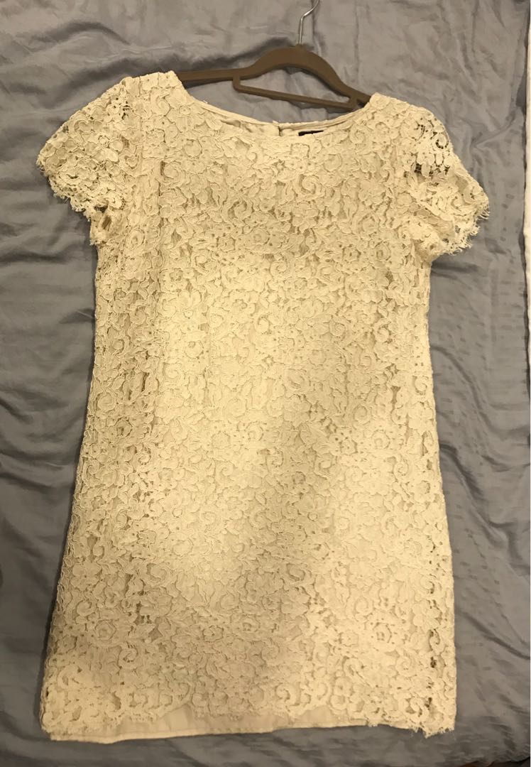 fdf354d5 Cream Lace Mini Dress from Zara, Women's Fashion, Clothes, Dresses & Skirts  on Carousell