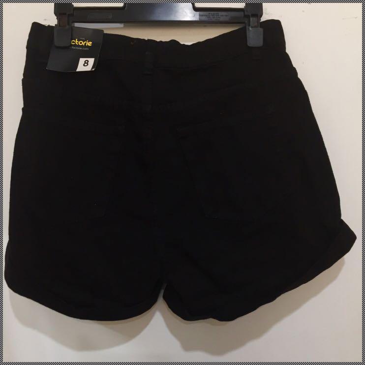 Factorie Black Denim Shorts
