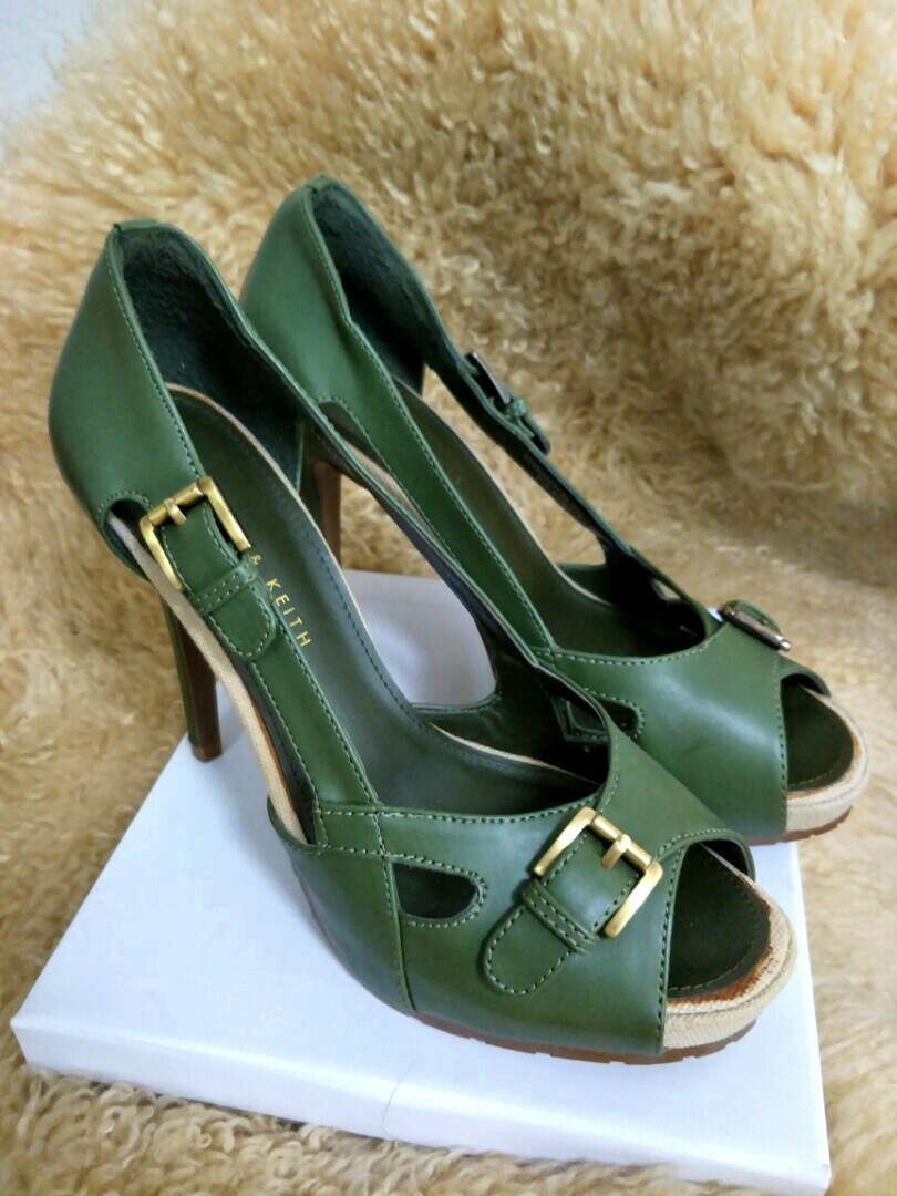 b6169935af71 Green Olivegreen open-toe heels. Charles   Keith