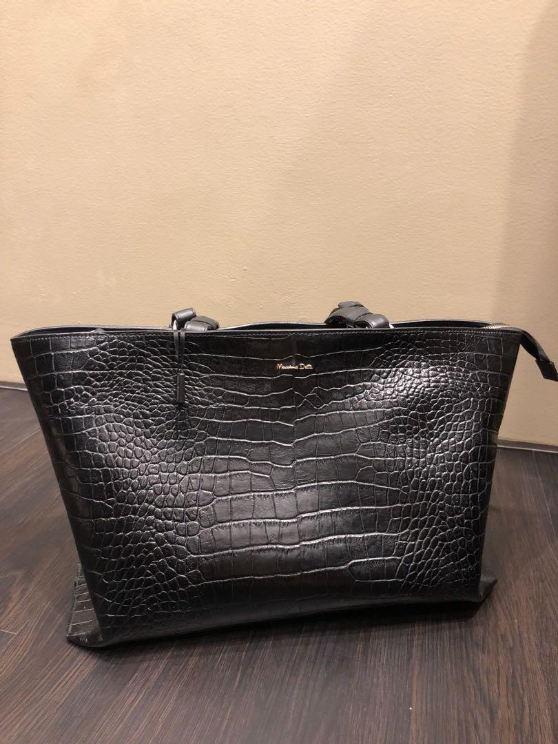 52cf89b5109 Massimo Dutti Moc Croc Cowhide Leather Bag, Women's Fashion, Bags ...
