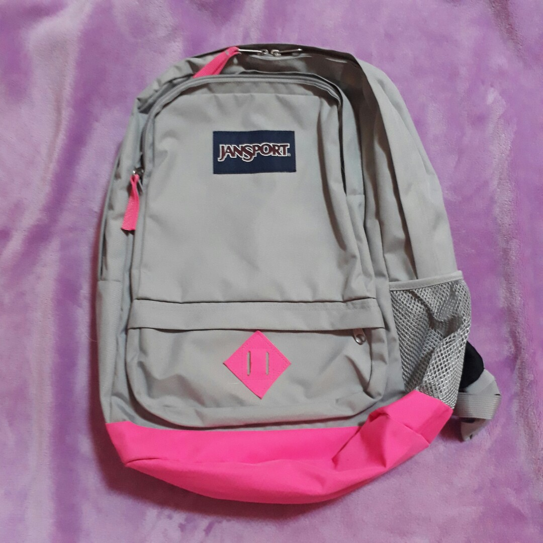 Original Authentic Jansport Bag Backpack Gray Grey and Neon Pink ... c3c56003175d1