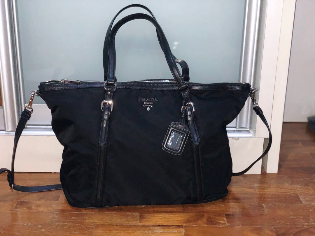 0b838056290f Prada Tessuto Nylon   Saffiano Leather Trim Top Zip Tote Bag- Black ...
