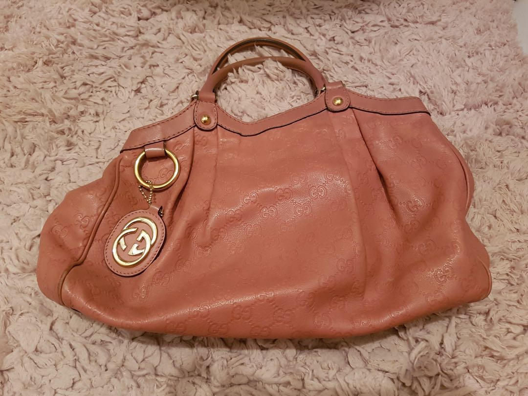 67610906464 Pre-loved Gucci Blush Pink Guccissima Sukey Medium Tote