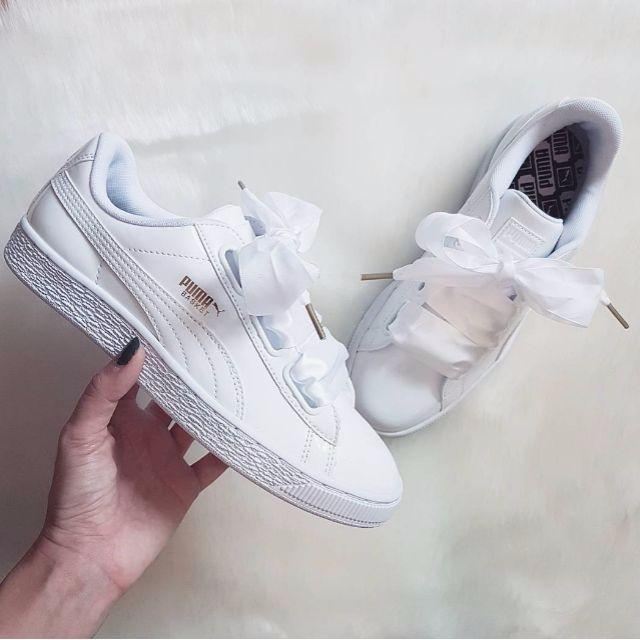 27024971223 Puma Basket Heart Patent White