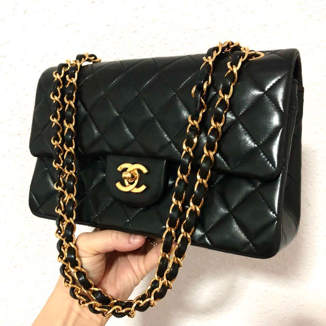 f5330491d03c RESERVED Authentic Chanel 9 Inch Classic Double Flap with 24k Gold ...