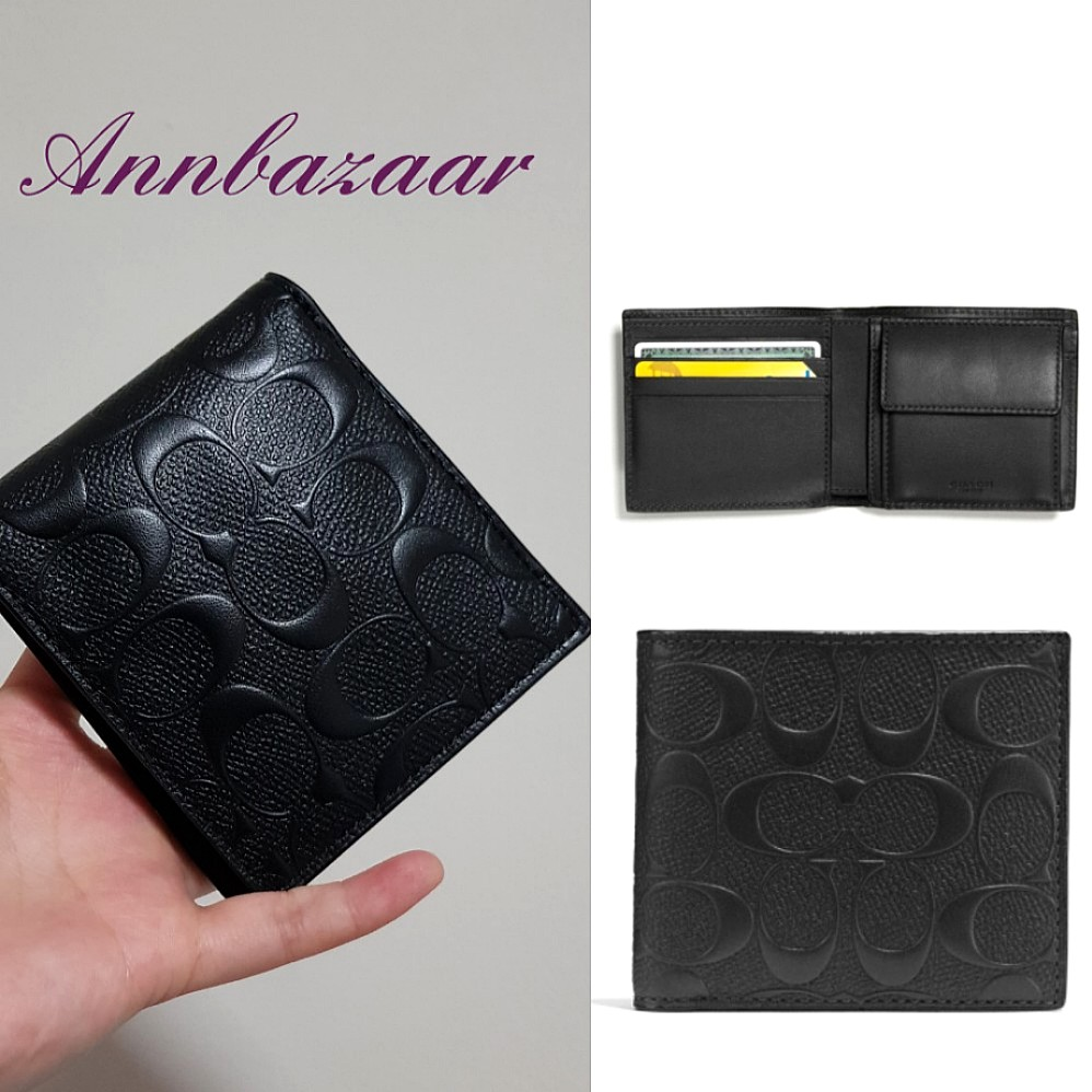 426cc47ab512d SPECIAL OFFER! Coach Coin Embossed Wallet- Black (100% Authentic ...