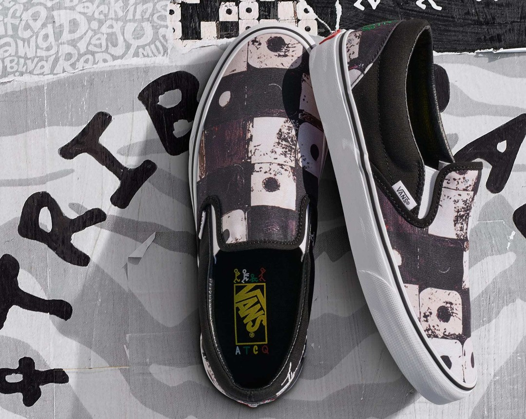 d6c8bd1549c37f Authentic Vans off the wall ATCQ A Tribe Called Quest Black Slip on ...