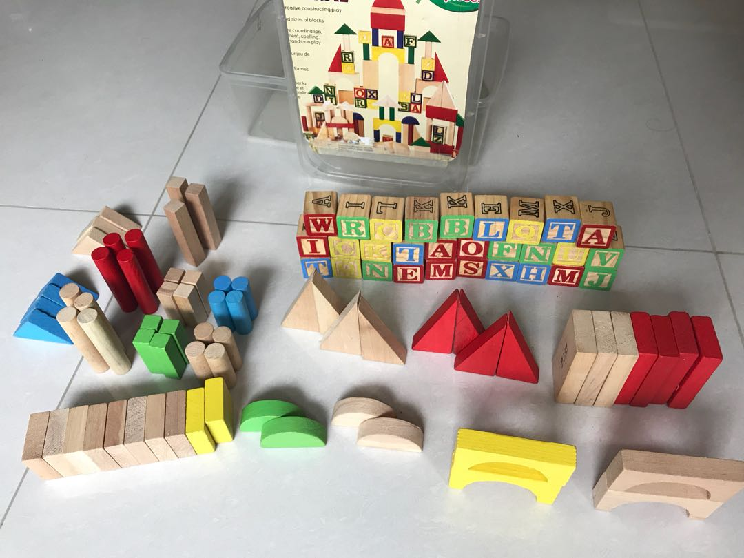 Wooden Block Set And Alphabet Block For Kids Toddler