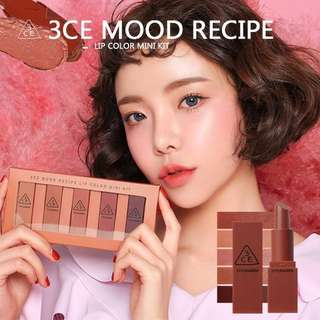 3CE MOOD RECIPE LIP COLOR MINI KIT (1 BOX)