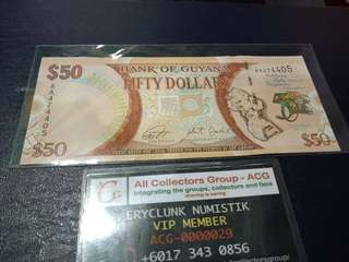 Duit Lama Bank of Guyana 50 Dollar