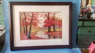 紅楓林。,蘇州刺綉裝飾畫。