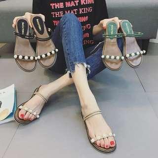 百搭休閒 氣質必備質感珍珠兩穿繫帶坡跟涼鞋 增高涼鞋 厚底涼鞋
