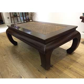 Asia-inspired Coffee Table with Rattan Detailing