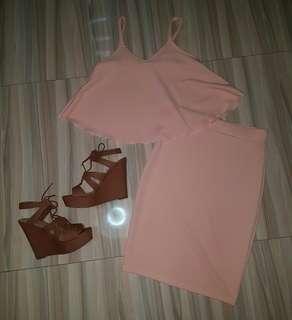 peach terno semi formal dress