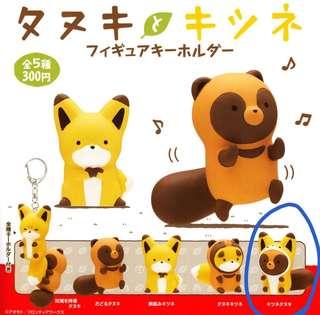 [扭蛋] 奇譚 狐狸與貍貓 鑰匙圈-貍貓穿狐狸裝
