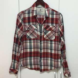 Timberland紅格紋長袖襯衫