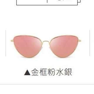 🚚 韓版時尚百搭貓眼三角造型墨鏡 網紅同款新品復古金屬太陽眼鏡貓眼形狀墨鏡 配件:附贈眼鏡袋+擦拭布