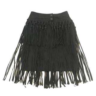 Suede Black Tassel Fringe High Waist Skirt