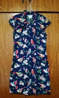 Navy Blue Cheongsam with Floral and Bird Prints